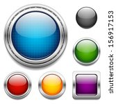 glossy buttons design elements | Shutterstock .eps vector #156917153