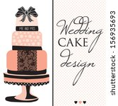 wedding cake design with lace... | Shutterstock .eps vector #156935693