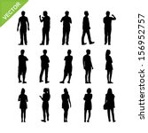 peoples silhouettes vector | Shutterstock .eps vector #156952757
