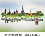 thailand travel background and... | Shutterstock . vector #156956873