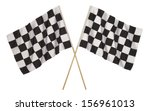 two checker flags crossed... | Shutterstock . vector #156961013