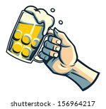 hand hold a glass of beer | Shutterstock .eps vector #156964217