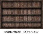 blank wooden bookshelf  | Shutterstock . vector #156973517