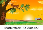 Squirrel And Sunset Landscape