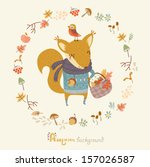 autumn background with funny... | Shutterstock .eps vector #157026587