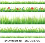 green grass and flowers photo... | Shutterstock .eps vector #157035707