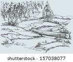 Vector Landscape. Birch Trees...