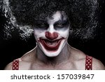 Evil Spooky Clown Portrait On...