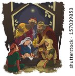 Nativity scene. Jesus, Mary, Joseph and the Three Kings - Three Wise Men in the manger. Also available raster version