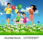 happy family running together | Shutterstock .eps vector #157059407