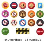 round flat icons set 4 traffic... | Shutterstock .eps vector #157085873