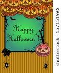 halloween frame with evil... | Shutterstock .eps vector #157151963