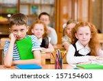 portrait of happy school... | Shutterstock . vector #157154603