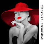 Beautiful Woman In Hat  With...