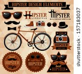 hipster set with bicycle ... | Shutterstock .eps vector #157183037