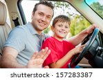 father and son is sitting at... | Shutterstock . vector #157283387