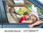 two kids is going by car... | Shutterstock . vector #157283477
