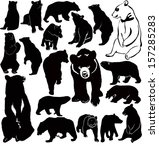 collection of animal vector bears - stock vector