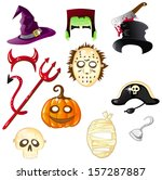 Set Of Halloween Hats And Masks