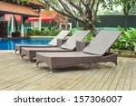 poolside loungers at an exotic... | Shutterstock . vector #157306007