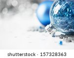 blue and silver xmas ornaments... | Shutterstock . vector #157328363