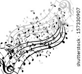 black music notes isolated on a ... | Shutterstock . vector #157330907