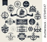 Set Of Vintage Retro Nautical Badger And Labels - stock vector