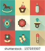 cute baby icons for postcards ... | Shutterstock .eps vector #157355507