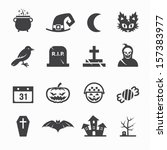 Halloween Icons With White...