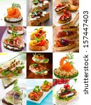 sandwich and canape collage  | Shutterstock . vector #157447403