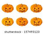 Stock vector jack o lantern set of six halloween pumpkins vector illustration 157493123