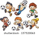 cartoon soccer kids. vector...
