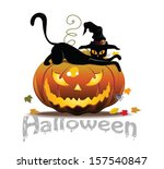 vector halloween icon with cat... | Shutterstock .eps vector #157540847