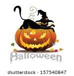 vector halloween icon with cat... | Shutterstock .eps vector #157540847