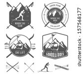 set of nordic skiing design...