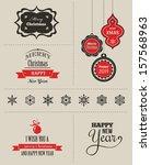 christmas set   labels  emblems ... | Shutterstock .eps vector #157568963