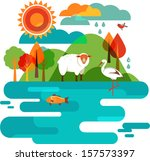 background,bird,clouds,copy space,country,cute,farm,fish,forest,fresh,icon,illustration,milk,nature,rain