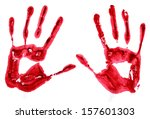 bloody hand prints isolated on... | Shutterstock . vector #157601303