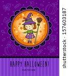 halloween vector card with... | Shutterstock .eps vector #157603187