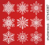 snowflakes collection on a red...   Shutterstock .eps vector #157643387