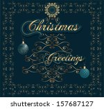 christmas invitation card with... | Shutterstock .eps vector #157687127