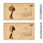 calendar 2014 with female... | Shutterstock .eps vector #157688963