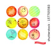 set of nine vector circles with ... | Shutterstock .eps vector #157705583