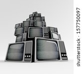 retro tv in front with static... | Shutterstock . vector #157750097