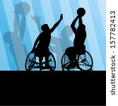 active disabled men basketball...   Shutterstock .eps vector #157782413