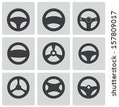 vector black steering wheels... | Shutterstock .eps vector #157809017