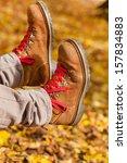 walking through the autumn... | Shutterstock . vector #157834883
