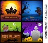 illustration of happy halloween ... | Shutterstock .eps vector #157863863
