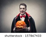 Man Dressed As Dracula With...