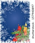 christmas card with candle and... | Shutterstock .eps vector #157940897